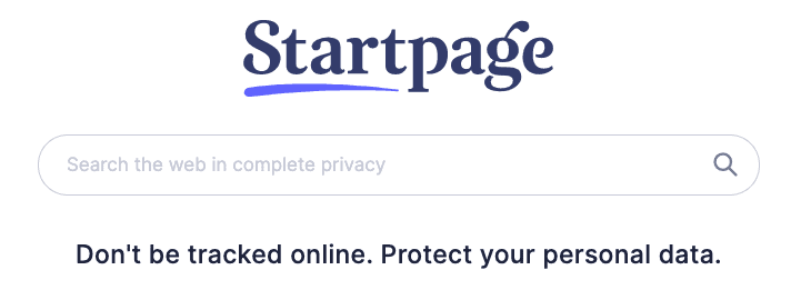 A screenshot of the alternative search engine Startpage.