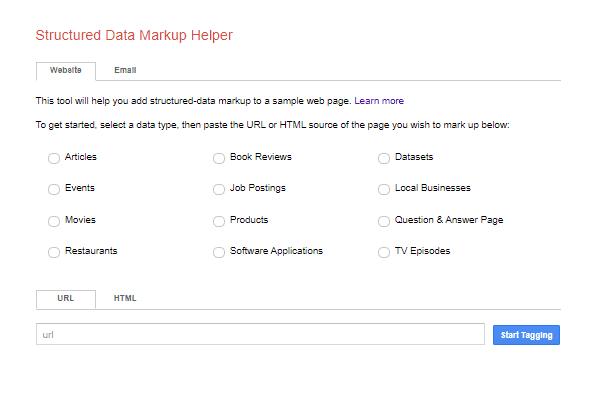 A screenshot of the structured data markup helper.