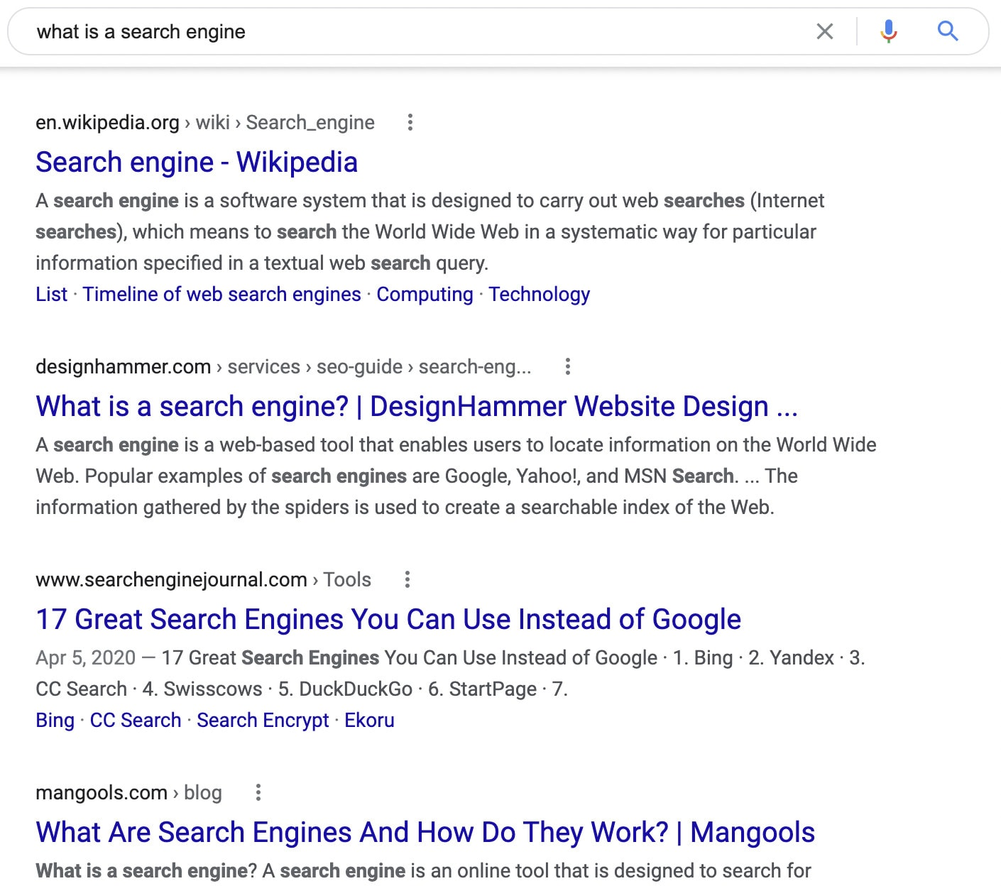 """A search engine results page for """"what is a search engine?"""""""