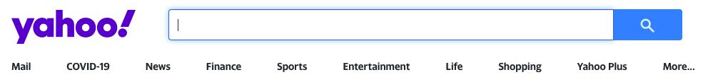 A screenshot of the alternative search engine Yahoo.