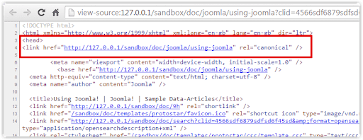 An example of how the canonical tag looks in the code of a website.