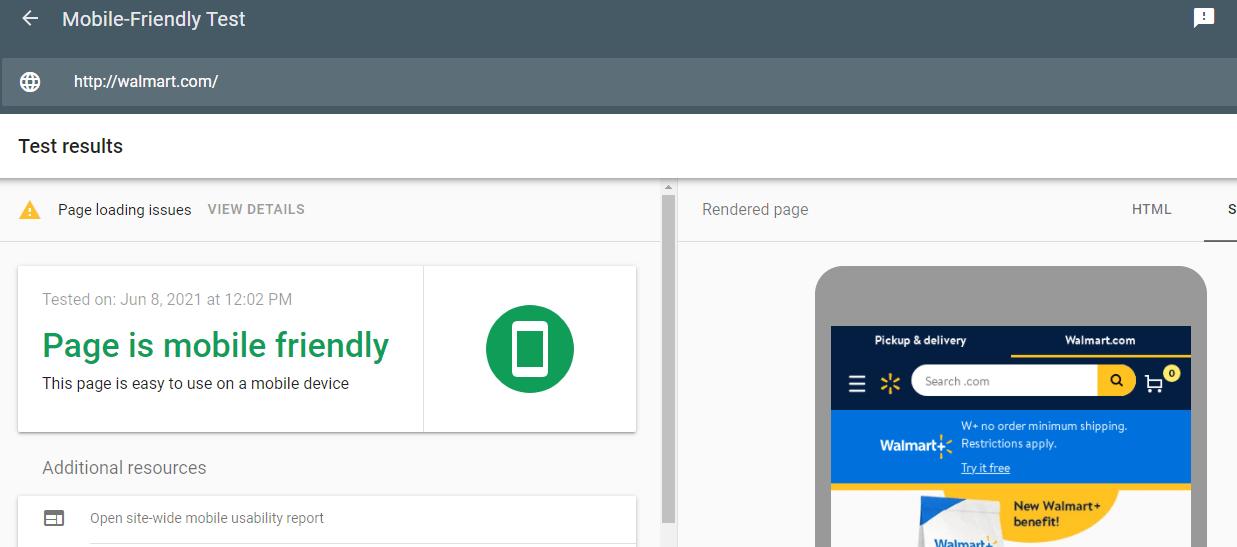 A screenshot of the Google Mobile-Friendly test for the walmart.com website.