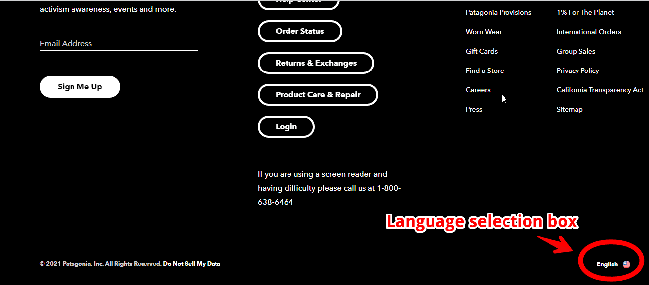 A web page showing a language selection button for visitors.