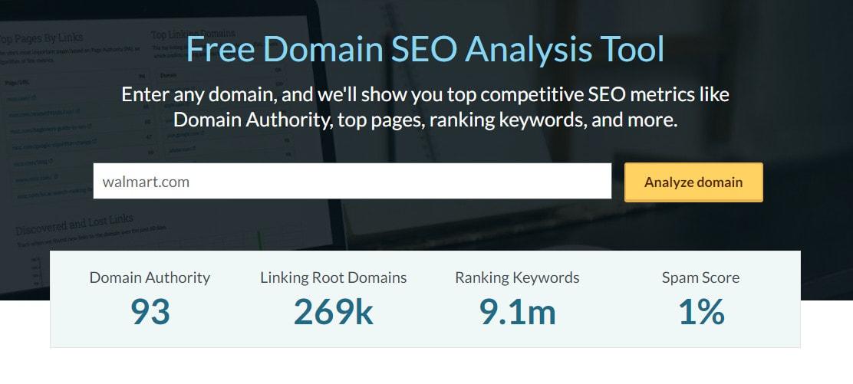 A screenshot of the Moz Domain SEO Analysis tool.