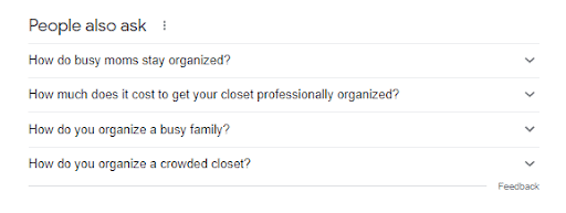 """LSI keywords in a related searches box at the bottom of a SERP for the term """"closet organization tips."""""""