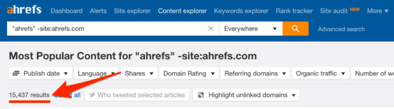 The screenshot shows ahrefs search results for link building opportunities.