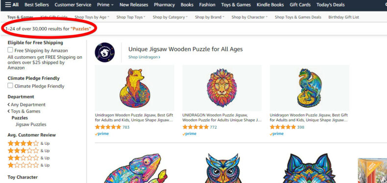 This image shows Amazon's product search results.