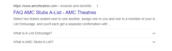 Screenshot shows AMC Theaters frequently asked questions rich snippet.