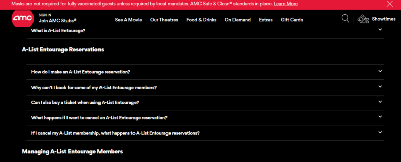 Screenshot shows AMC Theaters FAQ frequently asked questions page.