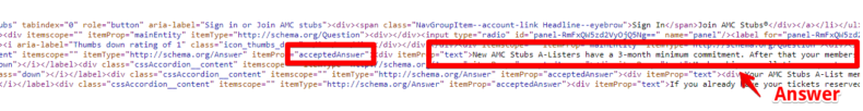 Screenshot shows AMC Theaters frequently asked questions source code.