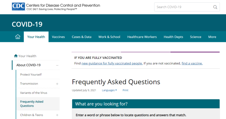 Screenshot shows CDC COVID-19 frequently asked questions example.