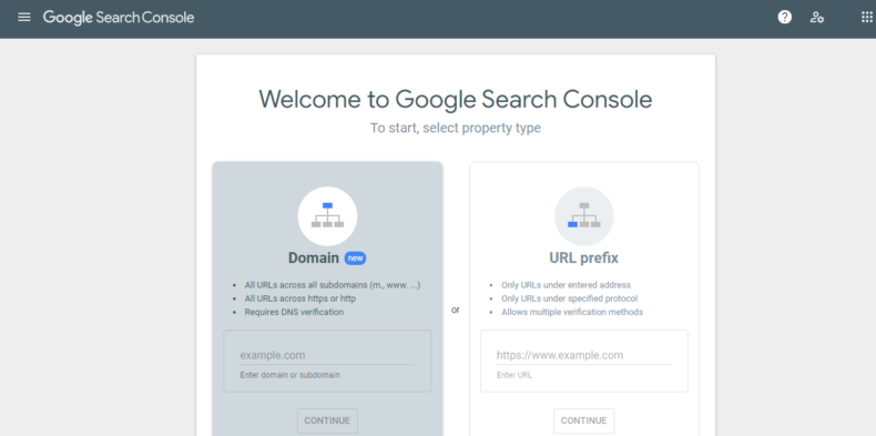 The screenshot shows the Google search console dashboard.