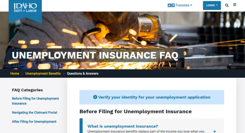 Screenshot shows Idaho Department of Labor frequently asked questions page.