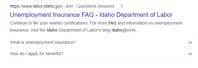 Screenshot shows Idaho Department of Labor frequently asked rich snippet.