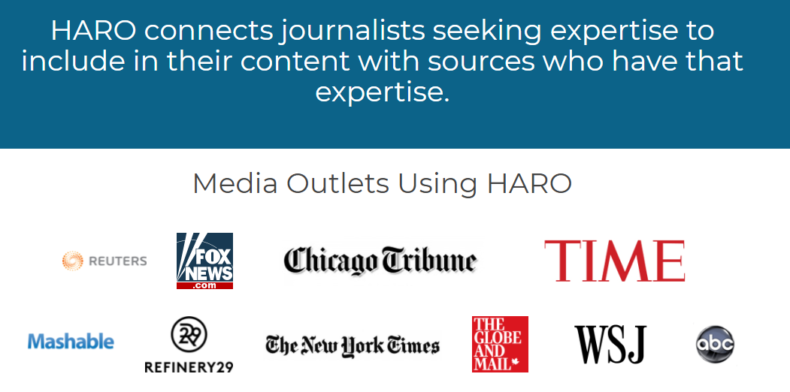 The screenshot shows different media outlets using HARO.