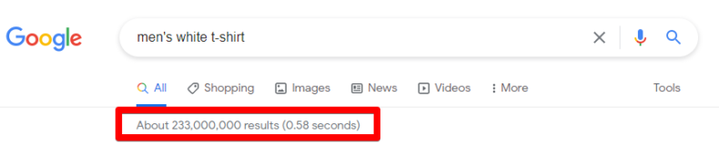 This screenshot shows the number of search engine results for a product filter.