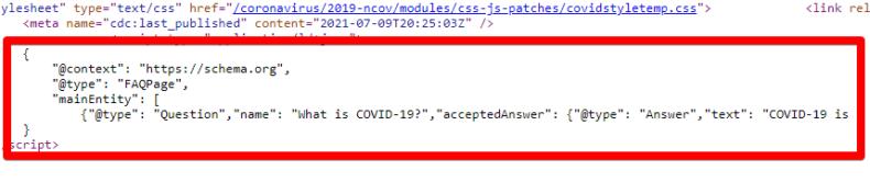 Screenshot shows CDC COVID-19 FAQ schema markup.