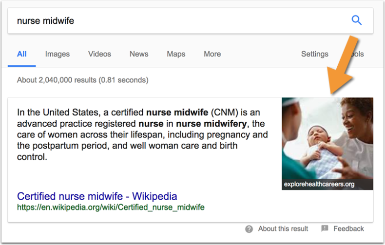 The screenshot shows search engine results for midwife.