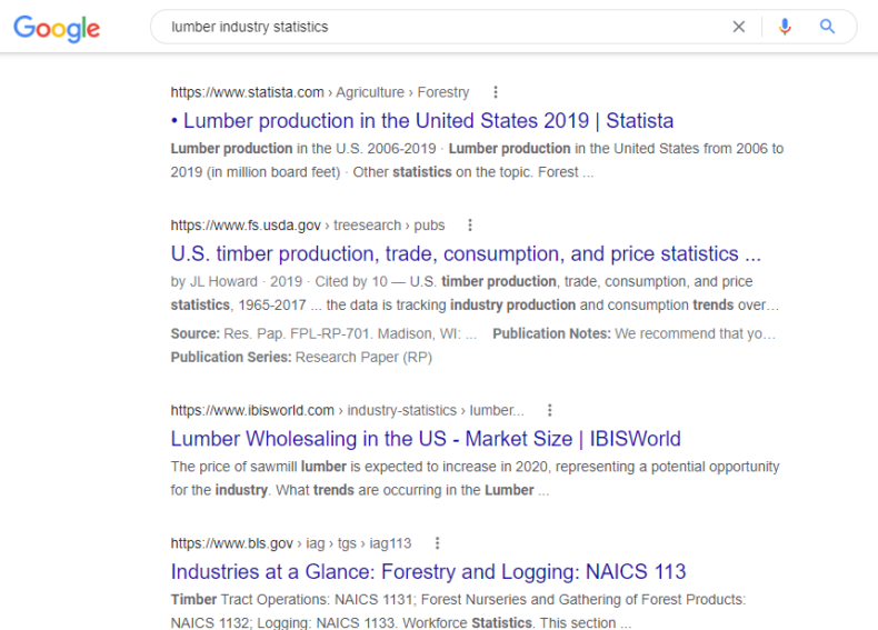 The screenshot shows search engine results for query on lumber shortage in 2021.
