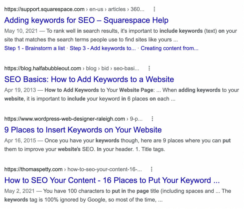 This screenshot shows google search engine results.