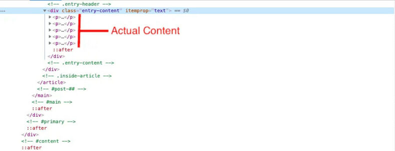 The screenshot shows how Elementor produces unnecessary code for certain pages.