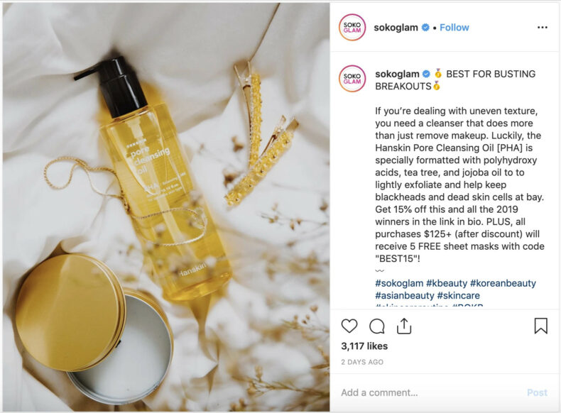 The screenshot shows how brands use detailed captions on Instagram to improve Instagram SEO.
