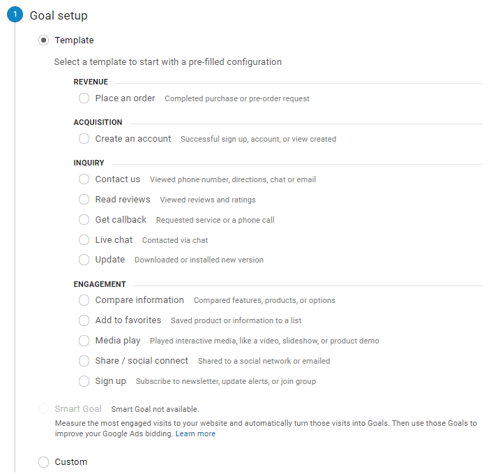 The screenshot shows how to setup a Goal in Google Analytics.