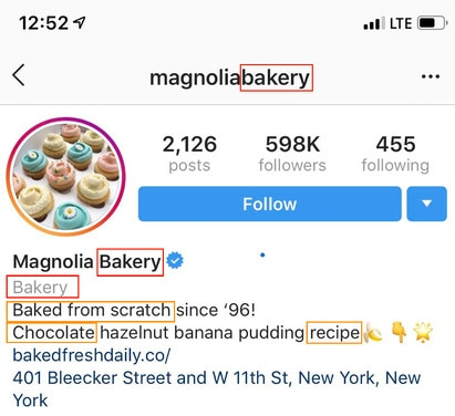 The image shows how to use keywords on your Instagram profile.