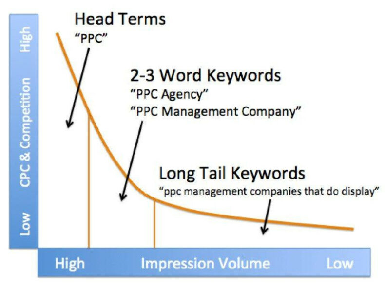 The image shows a line graph of how head terms have higher search volume and higher traffic potential.