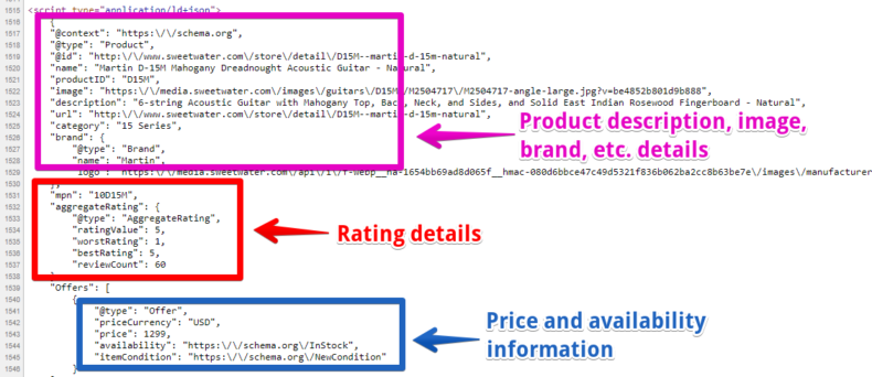 The screenshot shows the page source code and its important properties.