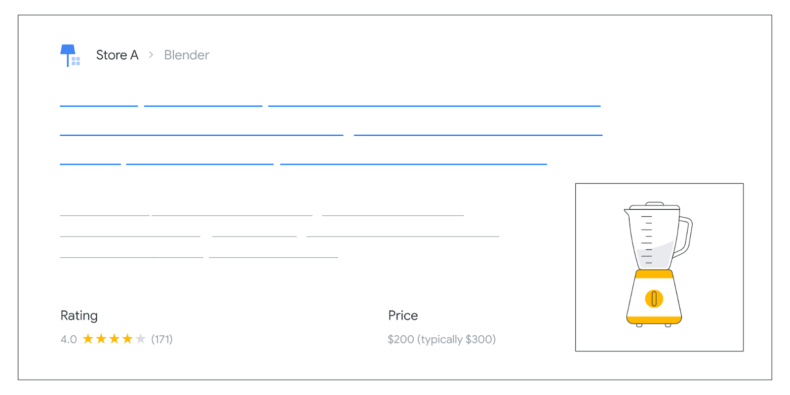 The screenshot shows product schema markup for price drop.