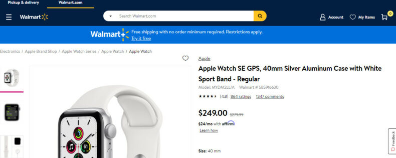 The screenshot shows the product page for Apple Watch.