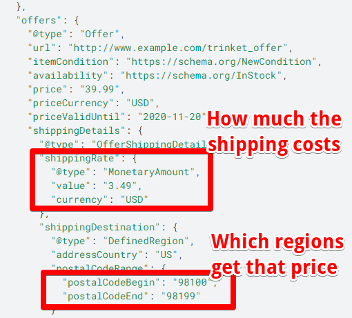 The screenshot shows the schema markup for shipping details.