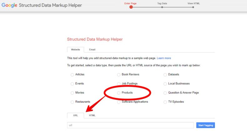The screenshot shows Google's structured data markup helper.